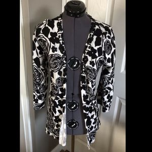 Chicos Black And White Embellished Cardigan -0 / S